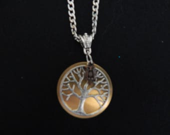 Tree of life pendant, silver on gold, accented by a cute owl