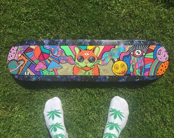 Double sided painted skateboard