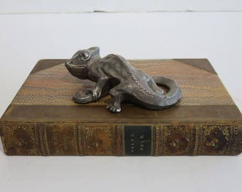 Silver Mid-Century Modern Gecko Sculpture Figurine, by Textile Mgf. Co.