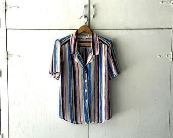 1980's Worthington Multi-colored Striped Blouse | Women's Striped Shirt | 80s Striped Button Down Top
