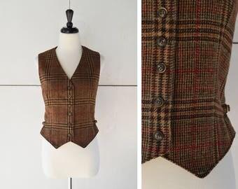 80s (M/L) womens plaid vest | vintage brown wool vest | 1980s womens clothing