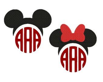 Mickey minnie monogram embroidery design file, mickey mouse embroidery design, minnie mouse embroidery design
