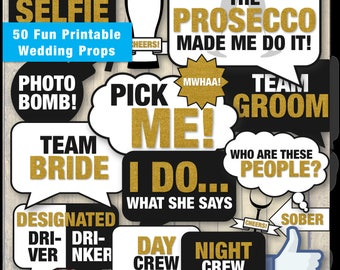 50 Fun Printable Wedding Props | Funny DIY Photo Booth Speech Bubbles & Props | Instant Digital Download - PDF | 50 Hilarious Wedding Signs