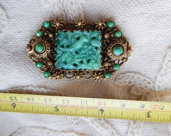 Vintage 1930s Poured Peking Glass Green Brooch - Czech - in the Style of Neiger