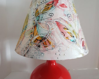 BoHo Hippy Bohemian Painted Lampshade on Original RED Mid Century Pottery Lamp Base Intuitive Free Spirit Painting OOAK