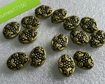 Set of 10 beads synthetic gold old 15mm