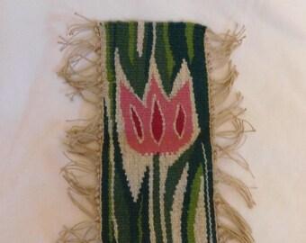 Vintage Norwegian Arts and Crafts woven Tulip scandinavian