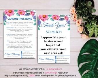 Monat Thank you card, Monat Care Instruction, Monat Care Card, Fast Free Personalization, Custom Monat Hair Care Card, Printable file MN05