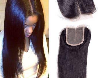 Lace Closure (4x4) Unprocessed Virgin Human Hair Peruvian Malaysian