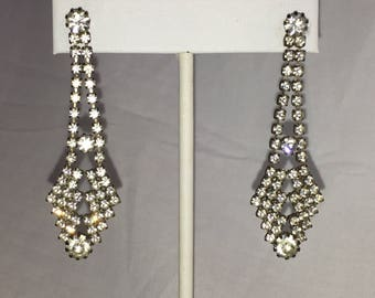 Chandelier Silver Tone Clear Rhinestone Pierced Vintage Earrings