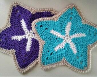 2 Starfish Crocheted Dishcloths