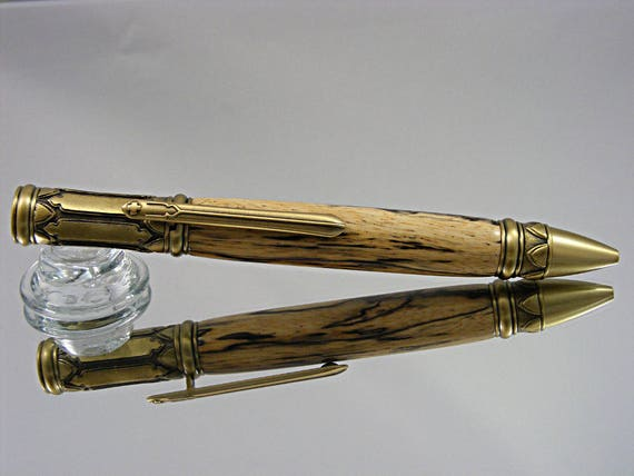 Ink Pen in Venetian Gothic Style, Antique Brass and Spalted Tamarind