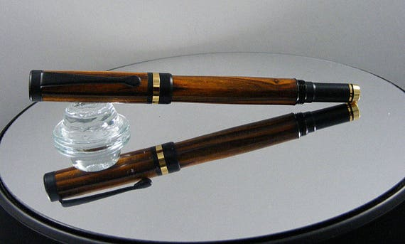 Handcrafted Classic Rollerball Pen in 24K Gold and Black Enamel with Cocobola Wood