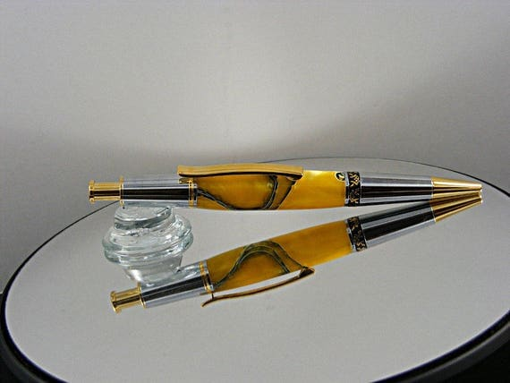 Handcrafted Ballpoint Pen in 10K Gold, Chrome and Electric Yellow Mesh Acrylic