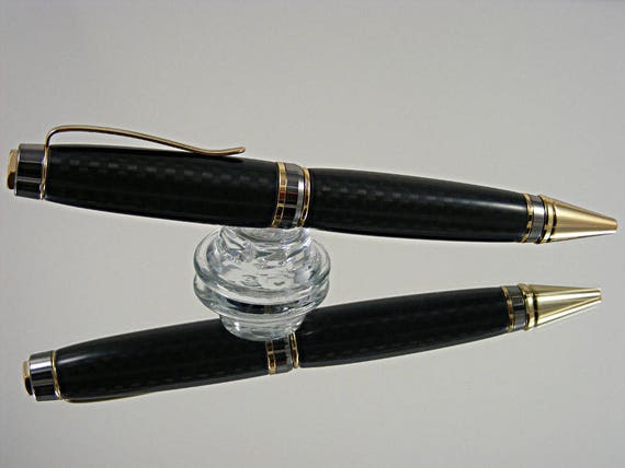 Handcrafted Cigar Pen in 24kt Gold, Gun Metal and Carbon Fiber