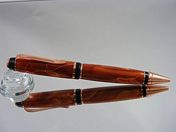 Handcrafted Cigar Pen in Copper with Orange and Gold Acrylic