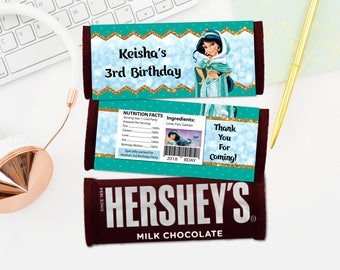 Personalized Princess Jasmine Aladdin Hershey's Chocolate Bar Wrapper Birthday Party Favor Favors Labels Label Printable DIY - Digital File