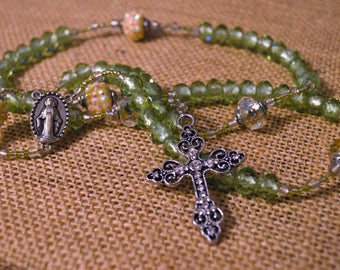 Sparkly Green Rosary...Free Shipping!