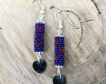 Blue with red hearts dangle earrings, bead woven with blue heart crystals and silver plated hooks