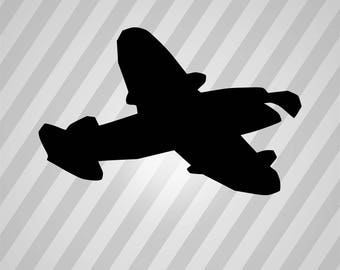 Airplane Silhouette - Svg Dxf Eps Silhouette Rld Rdworks Pdf Png Ai Files Digital Cut Vector File Svg File Cricut Laser Cut