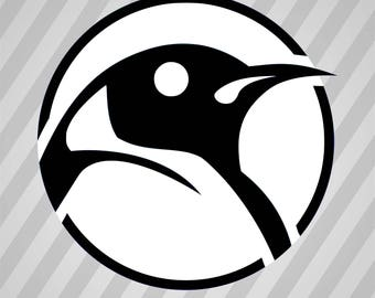 Head Of Tux (Black) - Svg Dxf Eps Silhouette Rld Rdworks Pdf Png Ai Files Digital Cut Vector File Svg File Cricut Laser Cut