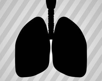 Lungs Silhouette - Svg Dxf Eps Silhouette Rld RDWorks Pdf Png AI Files Digital Cut Vector File Svg File Cricut Laser Cut