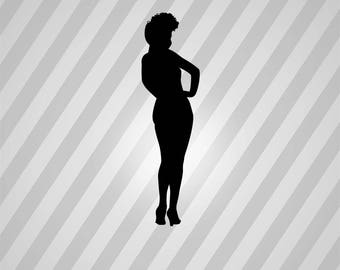 pin up girl Silhouette - Svg Dxf Eps Silhouette Rld RDWorks Pdf Png AI Files Digital Cut Vector File Svg File Cricut Laser Cut
