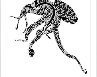 Octopus Papercut Template - Svg Paper Cut Templates Stencil Line Art Henna Mandala Pdf Cut Files Digital Clip Art Drawing