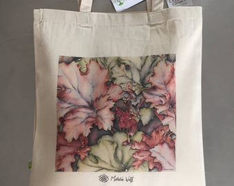 Bag cotton tote bag from my watercolor Alumroot / organic cotton tote bag
