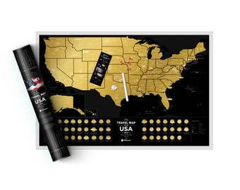 Scratch US Map Black Golden edition