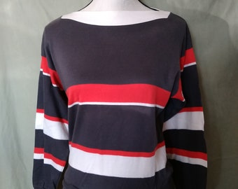 Vintage Color Block Cotton Top Made in the USA