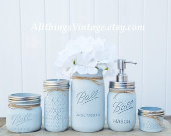 Mason Jar Bathroom Set,light Blue,Mason Jar Decor,farmhouse Decor,rustic