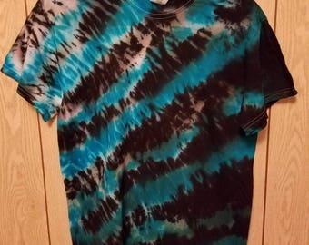 Black and blue shibori style tie dye tee