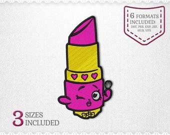Shopkins Lippy Lip Embroidery Machine Design - 3 Sizes - INSTANT DOWNLOAD - Applique, Embroidery, Designs