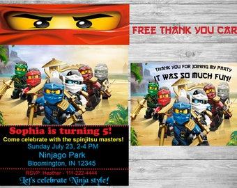 Ninjago Birthday Invitation +  FREE thank you card, Ninjago party,  Ninjago invitation. printable