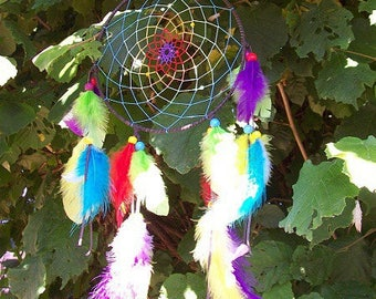Dream catcher or dream catcher in the colors of the Rainbow