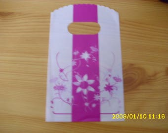 set of 10 white and pink 9X14cm gift bag