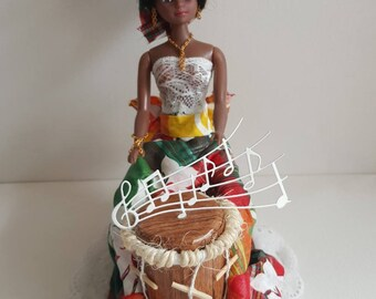 * Contact ME before ordering, not in STOCK * Caribbean drum player doll