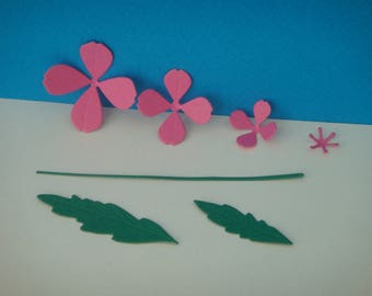 Pink flower set dark 4 petals to create