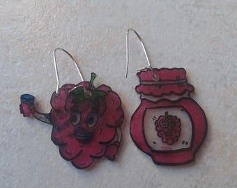 Raspberry earrings and jam