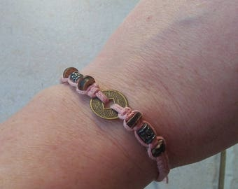 braided bracelet pale pink and charm Tibetan brass
