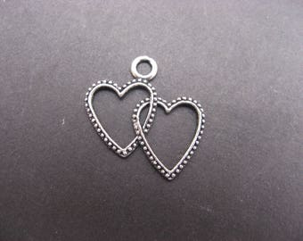 hearts entwined 23 mm silver-plated pendant * 4