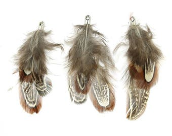 Natural 50 mm in length - sold individually Brown Feather