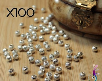 100 4 mm silver stardust beads