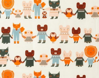 fabric, linen, animals with the hand, lion, Fox, birds, children, fabric, Scandinavian style