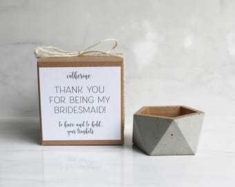 """Concrete Trinket Dish - Bridesmaid Gift - Wedding Favor - Geometric Pot - 3 1/4"""" Wide - Faceted - Rose Gold or Other Color"""