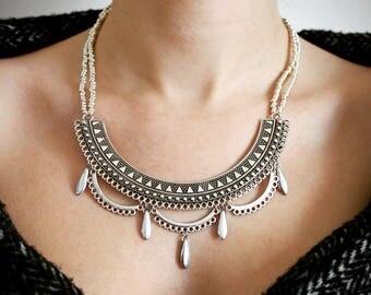 -Diana bib necklace ethnic silver - Japanese beads