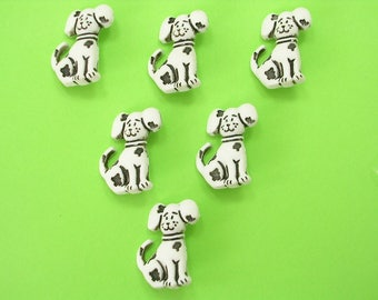 LOT 6 buttons: white/black 25mm Dalmatian dog