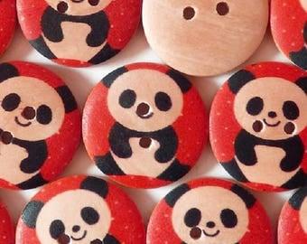SET of 6 wood buttons: round 15mm panda pattern