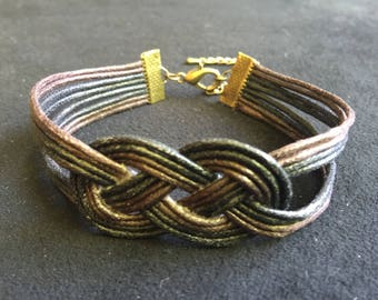 Fashion cotton sailor knot bracelet Brown and black wax